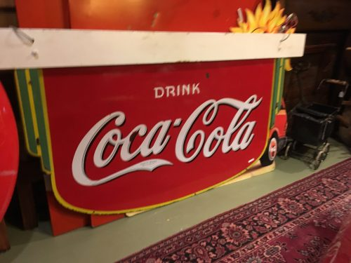 Coca Cola Art Deco Fountain 2 sided Sign 1935