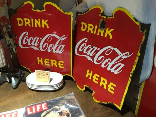 Coca Cola Coke Double sided Porcelain Flange Sign 1949