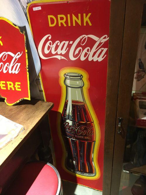 Coca Cola Coke Tall Tin Sign 1940s