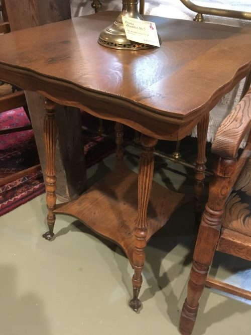Parlor table tiger oak ca. 1890