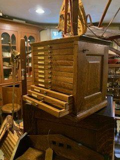 Watch repairmen's Oak Cabinet ca.1890.