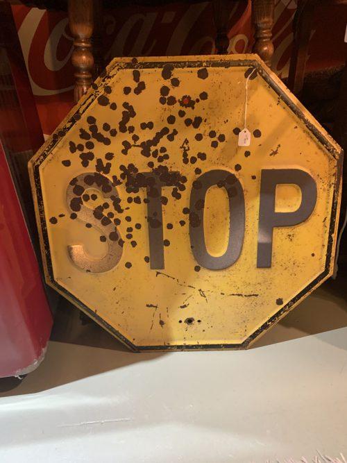 Yellow Stop Sign heavy metal 1940's .